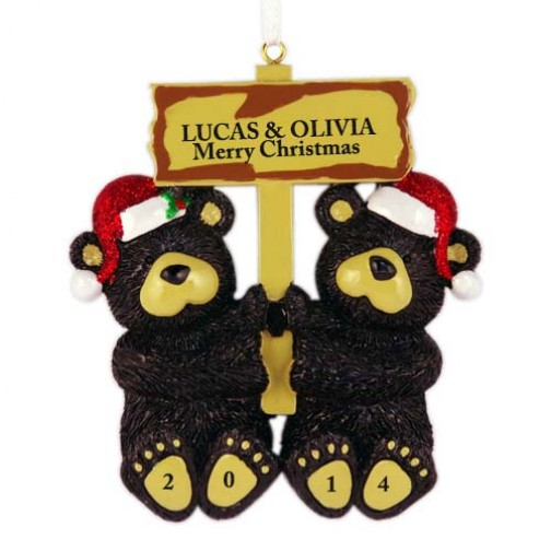image of black bear couple personalized christmas ornament