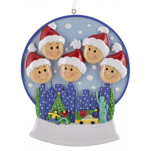 Image of Snow Globe Family of 5 Personalized Christmas Ornament - Personalized Christmas Ornaments