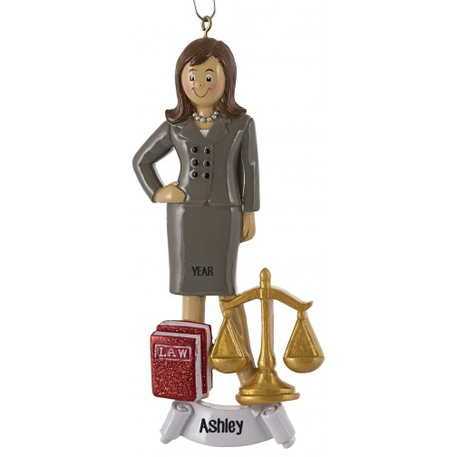 Image of Lawyer Girl Personalized Christmas Ornament - Occupation