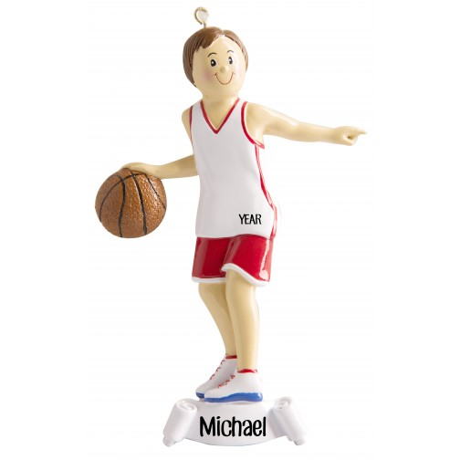 image of basketball boy red personalized christmas ornament